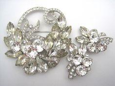 Eisenberg Ice Set  Brooch and Clip Earrings  by VintageInBloom, $85.00
