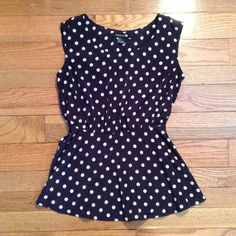 Forever 21 polka dot blue tank top EUC cute sz S EUC no issues, worn once or twice Forever 21 Tops Tank Tops