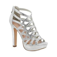 1d27a550983f Women's Fabulicious Selene 24 Caged Sandal - Silver Shimmering Textile  Sandals Caged Sandals, Gold Heels. Open