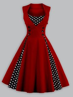 $18.36 Women Retro Polka Dot Insert Swing Dress