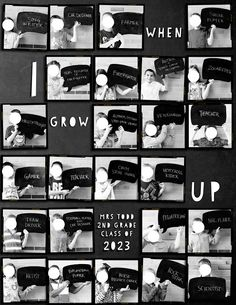 Take a photo every year at end of school year with what they want to be and put in collage at Graduation Elementary Yearbook Ideas, Yearbook Staff, Yearbook Pages, Yearbook Spreads, Yearbook Covers, Yearbook Layouts, Yearbook Design, Yearbook Photos, School Photos