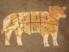 ANTIQUE MEAT LOCKER TRADE SIGN STEEL ORIGINAL BUTCHER SHOP ANGUS COW BEEF CHART