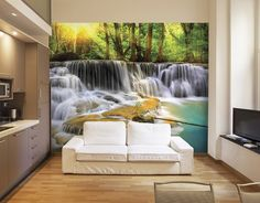 Almost too beautiful to be real and evocative of the heart of South East Asia, this mystical waters wall mural will unleash your inner traveller and create a whole new world in your home. Spring Wallpaper, Beach Wallpaper, Waterfall Wall, Oriental Wallpaper, Wall Murals, Mural Wallpaper, Feature Wall, Living Room Wallpaper Murals, Water Walls