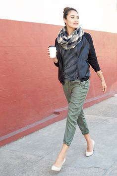Athleisure at work: Try pairing a pair of khaki or army green jogger pants with a draped, knit shirt & structured outer layer (think something sporty, like a moto jacket!) and you're good to go.