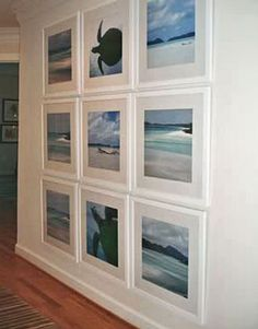 Cool Beach Art Gallery Wall - use wall colored frames for visual space. Beach Cottage Style, Coastal Cottage, Coastal Homes, Beach House Decor, Coastal Style, Coastal Farmhouse, Living Room Decor Beach, Cottage Art, Modern Coastal