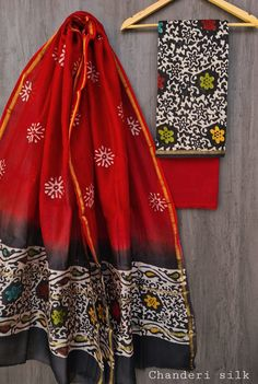 Price Rs 1600 + Shipping extra Hand block Printed chanderi silk dress materials Top and dupattas chanderi silk (2.50×2 mtrs) Bottom cotton (2.50 meters) Chanderi Suits, Chanderi Silk Saree, Silk Sarees, Silk Suit, Kimono Top, Blouse, Dresses, Skirts, Stuff To Buy