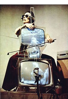 """TV Cello by Nam June Paik (artist) and Madeline Charlotte Moorman (cellist). When Moorman drew her bow across the """"cello,"""" images of her and other cellists playing appeared on the screens. Op Art, Dada Art Movement, Fluxus Movement, Fluxus Art, Modern Art, Contemporary Art, Post Modern, Nam June Paik, Eva Hesse"""
