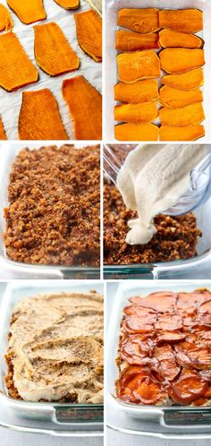 This healthy vegan lasagna has layers of sliced sweet potatoes, quinoa & lentil filling, and a creamy white bean sauce for plant-based protein. Sweet Potato Lasagna Recipe, Sweet Potato Recipes, Vegan Foods, Vegan Dishes, How To Make Lasagna, Clean Eating Recipes, Coco, Whole Food Recipes, Vegetarian Recipes