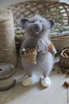 Купить Мышки-братишки - серый мышонок, валяная мышка, мышонок, мышонок валяный, мышка из шерсти