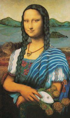 "Mona Lisa in full ""Guarecita"" garb, (Puerpecha/Tarascan) With Patzcuaro Lake and… Chef D Oeuvre, Oeuvre D'art, Monnalisa Kids, Jace, La Madone, Mona Lisa Parody, Mona Lisa Smile, American Gothic, Many Faces"
