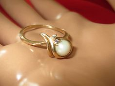 14k Gold Pearl and Diamond Ring. EXCLUSIVE and by Goldworld14, $380.00