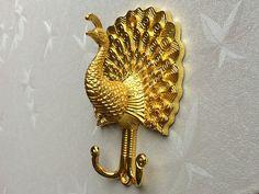 Gold Peacock Decorative Wall Hook Metal Wall by LynnsHardware