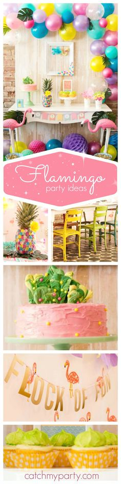 Don't miss this awesome pink Flamingo and Pineapple party! The balloon backdrop is so beautiful!! I love it! See more party ideas at CatchMyParty.com