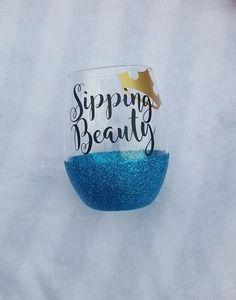 Sipping Beauty Wine Glass, Disney Wine Glass, Glitter Wine Glass