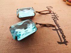 Vintage Earrings Powder Blue Earrings Estate by GoingHoLLyWood, $23.00