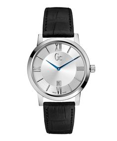 Slimclass+stainless+steel+leather+watch+by+Gc+Watches+on+secretsales.com
