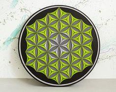 arte pared flor de la vida geometría sagrada cadena psychedelic arte decoración hogar pared decoración Zen Mandala 3D arte regalo espiritual New Age meditación