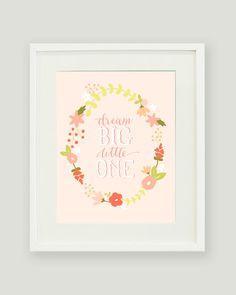 Dream Big Little One - Baby Girl Nursery Print