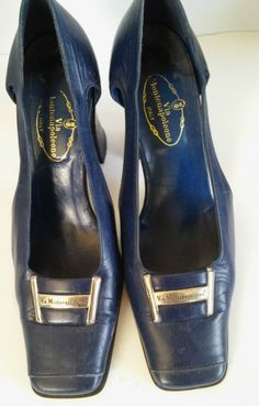 Montenapoleone leather shoes blue wide heel size 38 Italy