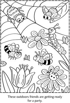 Spot the Differences Picture Puzzles Dover Publications Insect Coloring Pages, Pattern Coloring Pages, Printable Coloring Pages, Adult Coloring Pages, Coloring Sheets, Coloring Book Pages, Art Drawings For Kids, Drawing For Kids, Art For Kids