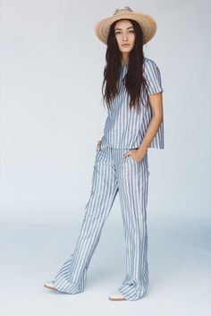 Matching sets are instantly cool when done in stripes and they involve pants and a wide brim hat