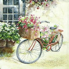 4-x-Single-Luxury-Paper-Napkins-for-Decoupage-and-Craft-Vintage-Flower-Bike