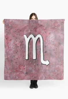 """Zodiac sign : Scorpio"" Scarf by Savousepate on Redbubble #scarf #clothing #astrology #astrologicalsign #zodiacsign #scorpio #purple #burgundy #black #white #watercolorpainting"