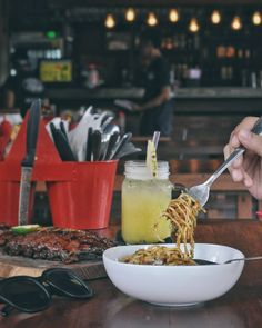 #Bali. The legend from Ubud now open at Jl. Mertanadi. @NaughtyNurisSeminyak. One of their new menu that you should try is NAUGHTY SPAGETTHI(55k) with pulled pork and BBQ tomato sauce. It's awesome and tasty