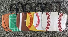 LARGE Personalized Football, Basketball, Baseball or Softball Tote 21.5x16x5.5 Snap Closure Lined Inside Pocket These are the perfect size to carry everything you need for your sporting events. Holds sunblock, snacks, water bottles, even a small umbrella for those rainy games. Leave name & #