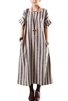 Mordenmiss Women's Summer Stripes Maxi Dress With Side Pockets Gray Mordenmiss http://www.amazon.com/dp/B00VUE6KEU/ref=cm_sw_r_pi_dp_xus0vb0MM0BPC