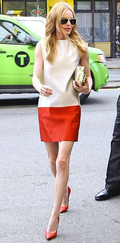 Kate Bosworth color-blocked while out and about in NYC, accessorizing her cream-and-red sleeveless shift with a gold clutch and red pumps.