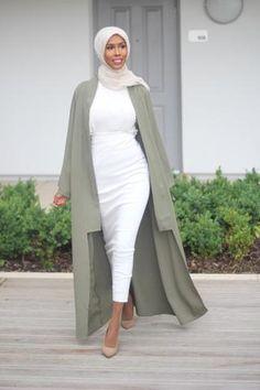 Khaki Long Duster Coat – Basma K Collection