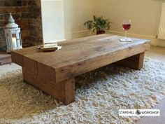 OAK BEAM/SLEEPER COFFEE TABLE, Solid oak, Rustic, Handmade, Chunky wood, Unique | eBay