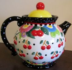 I collect Mary Engelbreit things-esp. her teapots and my kitchen is actually done in all Mary Engelbreit! Mary Engelbreit, Chocolate Pots, Chocolate Coffee, Teapots Unique, Cherries Jubilee, Cherry Kitchen, Teapots And Cups, Tea Art, High Tea