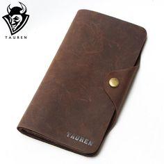 Real Crazy Horse Leather Long Wallets For Men Money Clip Purse travel Wallet Combination Price Men's Wallet