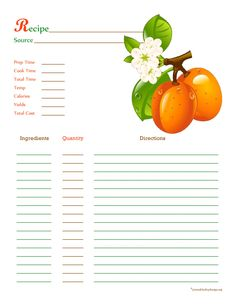 Apricot Recipe Card - Full Page