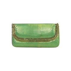 Pre-owned Cashhimi Mint Green Embossed Clutch w/ Gold Chain ($199) ❤ liked on Polyvore featuring bags, handbags, clutches, teal, evening handbags, fold-over clutches, mint green handbags, gold purse and teal purse