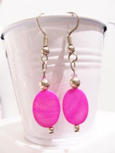 Hot pink oval shell earrings  pink beaded by SparkleandComfort