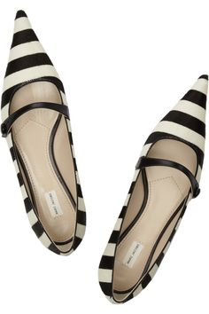 MARC JACOBS  Striped calf hair flats