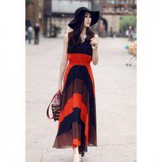 $11.94 Womens Chiffon Bohemian Dress With Slimming Fashionable Style Stripes Round Neck High-Waisted Sleeveless Design