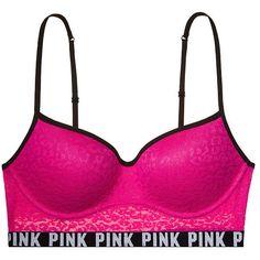 Leopard Lace Push-Up Bralette PINK ($34) ❤ liked on Polyvore featuring intimates, bras, underwear, bra, victoria's secret, lace bralette bra, leopard print bra, victoria secret bra and lace bra