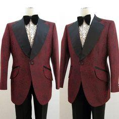 Tuxedo Jacket Vintage 70s Paisley Brocade Black & Red 40