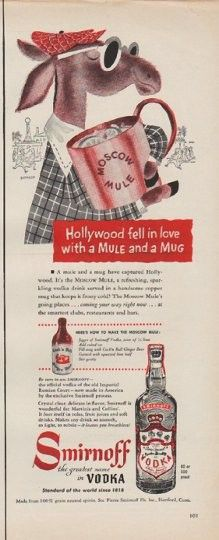 """1950 SMIRNOFF VODKA vintage print advertisement """"Hollywood fell in love"""" ~ Hollywood fell in love with a Mule and a Mug ... A mule and a mug have captured Hollywood. It's the Moscow Mule, a refreshing, sparkling vodka drink served in a handsome copper mug that keeps it frosty cold! Smirnoff -- the greatest name in Vodka ~"""
