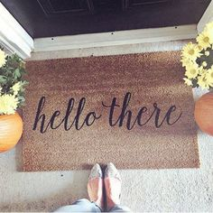 Hello There Doormat, Door Mat, Hand Painted, Large, Coir Fiber, Gift  // WM32