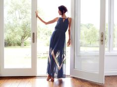 Boho Elegance just walked in the door!   Sheer Zig-Zag Maxi Dress by Akiko