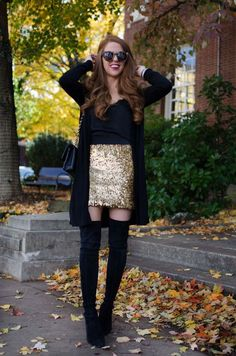 Ideas Skirt Sequin Outfit Winter Plus Size Gold Skirt Outfit, Mini Skirt Outfit Winter, Cute Skirt Outfits, Sequin Outfit, Winter Dress Outfits, Party Outfits, Tights Outfit, Gold Mini Skirt, Black Sequin Skirt