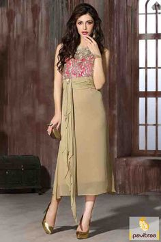 Latest trends fancy beige georgette designer kurti online shopping at lowest…