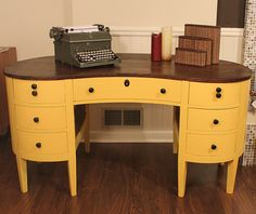 Vintage Kidney-Shaped Desk. Yellow Happiness.  I could paint mine yellow...