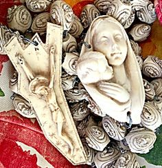 "Huge 5.5 FOOT LONG Wall Rosary Beads Rosaries Vintage Virgin Mary Crucifix (Image1)HUGE - over 5 1/2 FEET LONG - Rosary Beads from Italy featuring the Blessed Madonna and Child Jesus, a unique crucifix and beads with the Faces of Jesus and Mary . ***The beads are 5 FEET 7 INCHES LONG!!  ***Each bead is approx. 1.25"" x 1.25""  ***The Virgin Mary with baby Jesus centerpiece is 4.50"" x 3"""