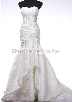 Taffeta Softly Curved Strapless Mermaid Style with Beaded Embellishment Wedding Dress WD-3666